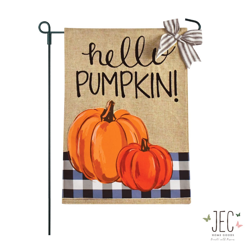 Blue Buffalo Plaid Pumpkins Burlap 2-Sided Garden Flag 12.5x18""