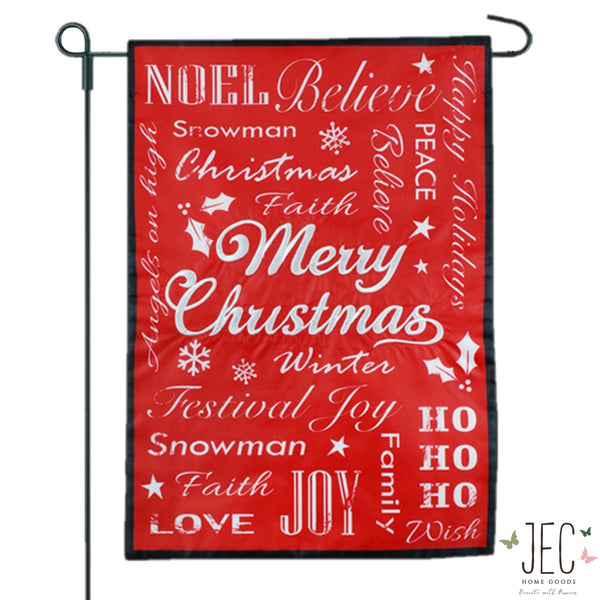 Christmas Typography Black 2-Sided Garden Flag 12.5x18""