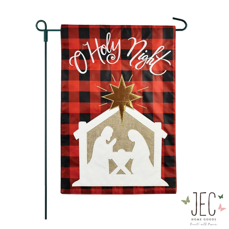 Buffalo Check Nativity Scene Burlap 2-Sided Garden Flag 12.5x18""