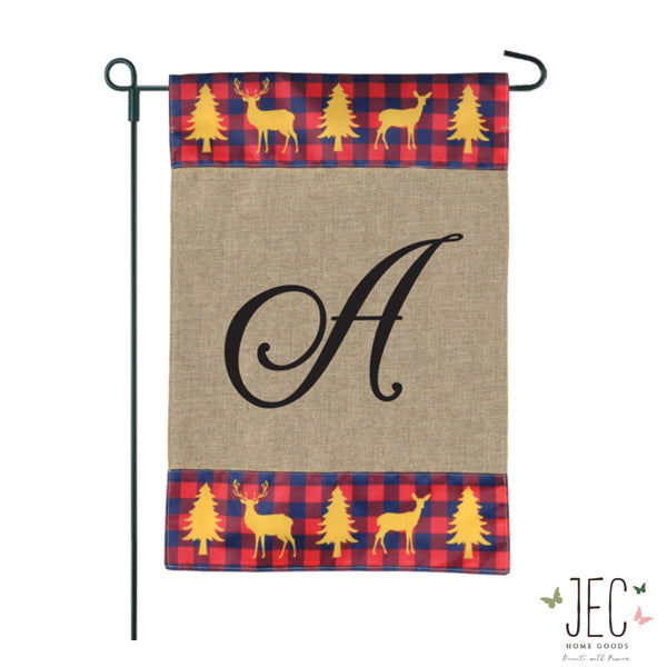 Plaid Gold Stag Monogram Burlap 2-Sided Garden Flag 12.5x18""