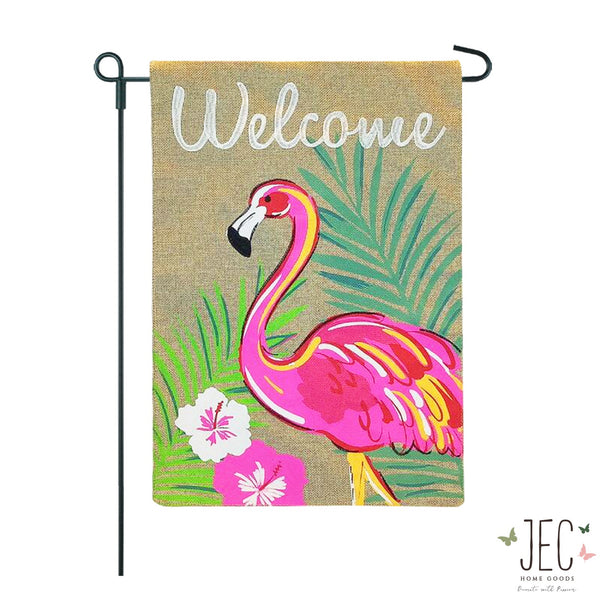 Flamingo Welcome Burlap 2-Sided Garden Flag 12.5x18""