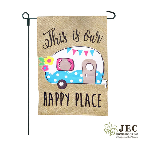 Camper Happy Place Burlap 2-Sided Garden Flag 12.5x18""