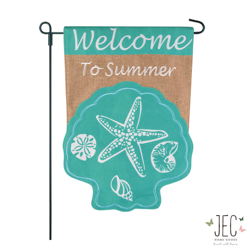 Seashell Welcome Burlap 2-Sided Garden Flag 12.5x18""