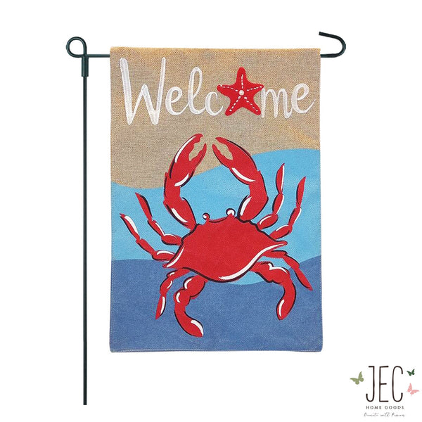 Crab Welcome Burlap 2-Sided Garden Flag 12.5x18""