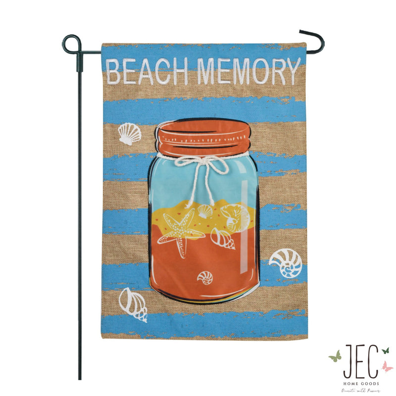 Beach Memory Mason Jar Burlap 2-Sided Garden Flag 12.5x18""