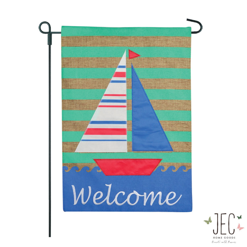 Coastal Sailboat Welcome Burlap 2-Sided Garden Flag 12.5x18""