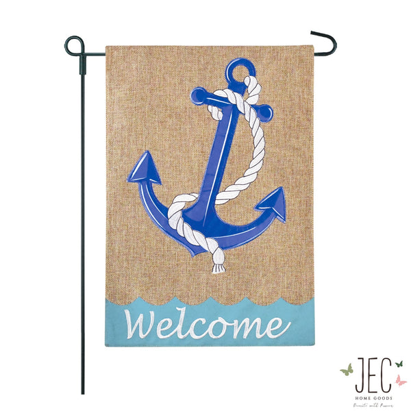 Anchor Rope Welcome Burlap 2-Sided Garden Flag 12.5x18""