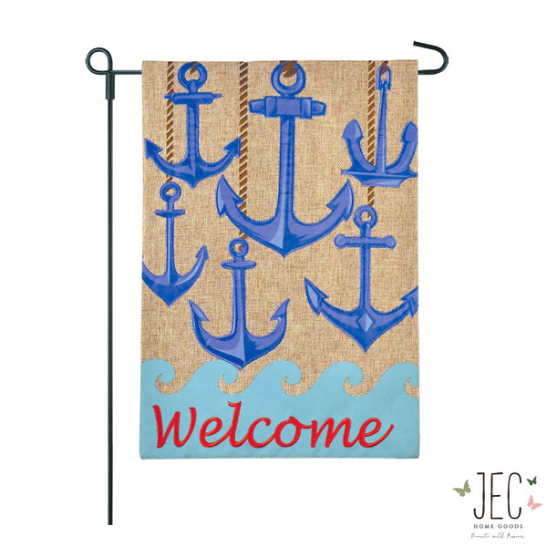 Anchors Set Welcome Burlap 2-Sided Garden Flag 12.5x18""