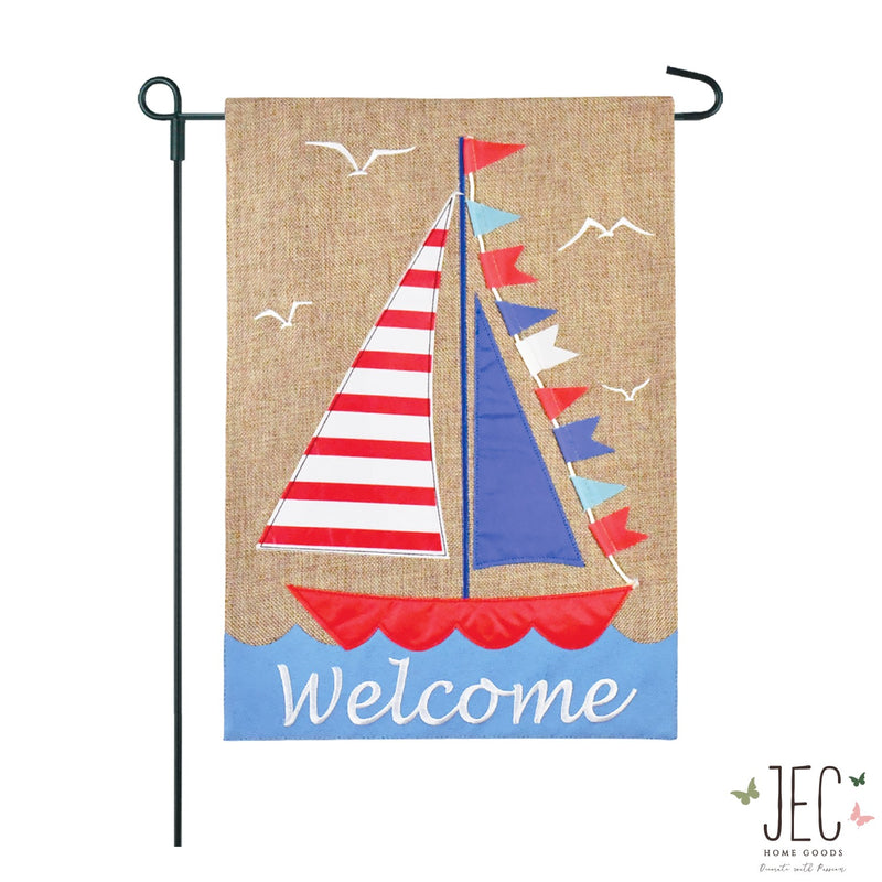 Stripe Sailboat Welcome Burlap 2-Sided Garden Flag 12.5x18""
