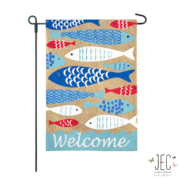 Friendly Fish Welcome Burlap 2-Sided Garden Flag 12.5x18""