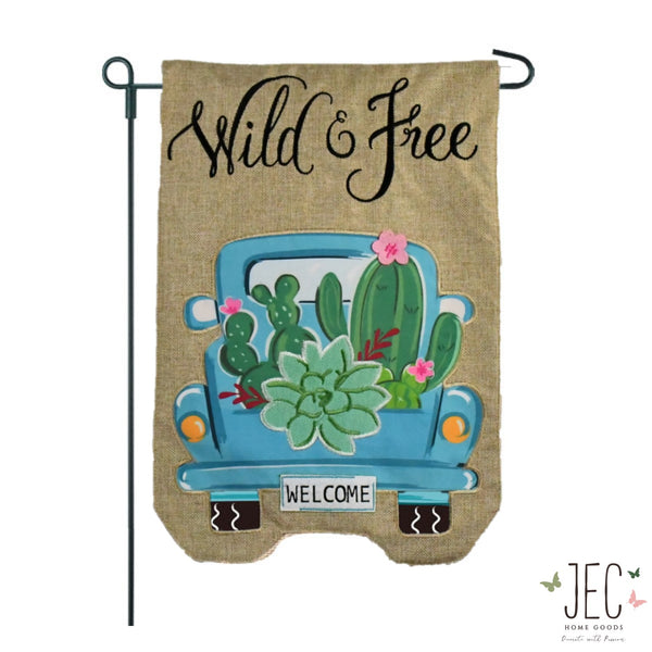 Cactus Pick Up Truck Burlap 2-Sided Garden Flag 12.5x18""