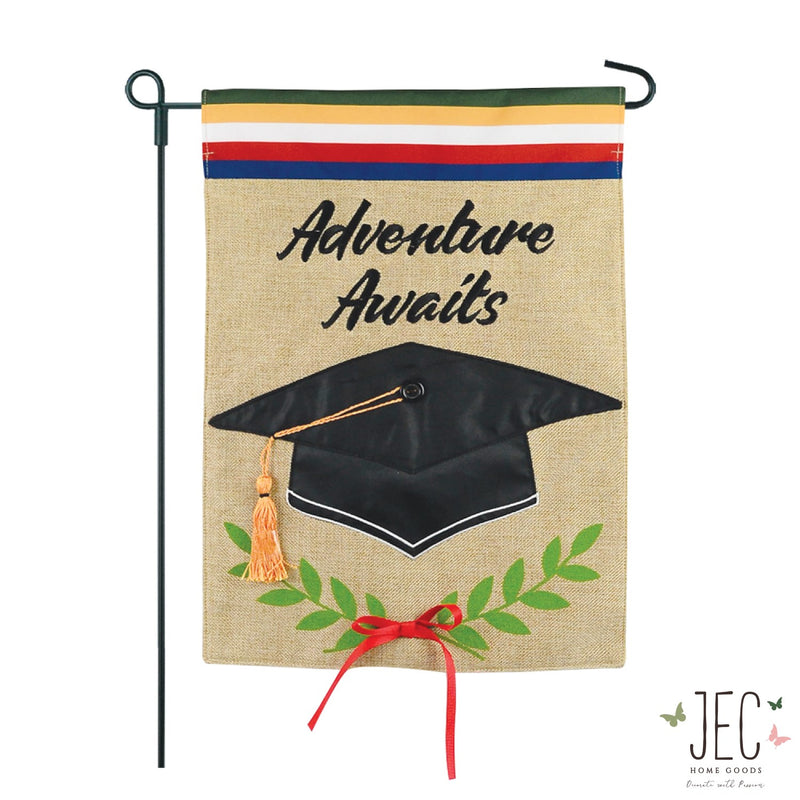 Adventure Awaits Burlap 2-Sided Garden Flag 12.5x18""