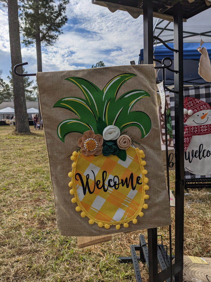 Pineapple Pom Pom Welcome Burlap 2-Sided Garden Flag 12.5x18""