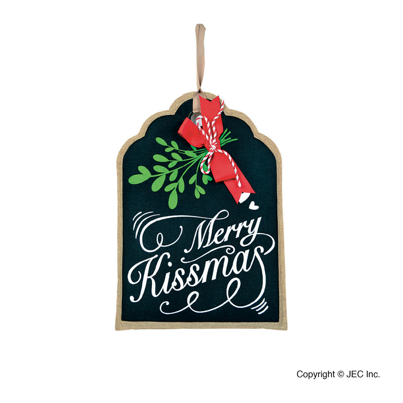 "Merry Kissmas Gift Tag Wall Décor 12.5""x18"""