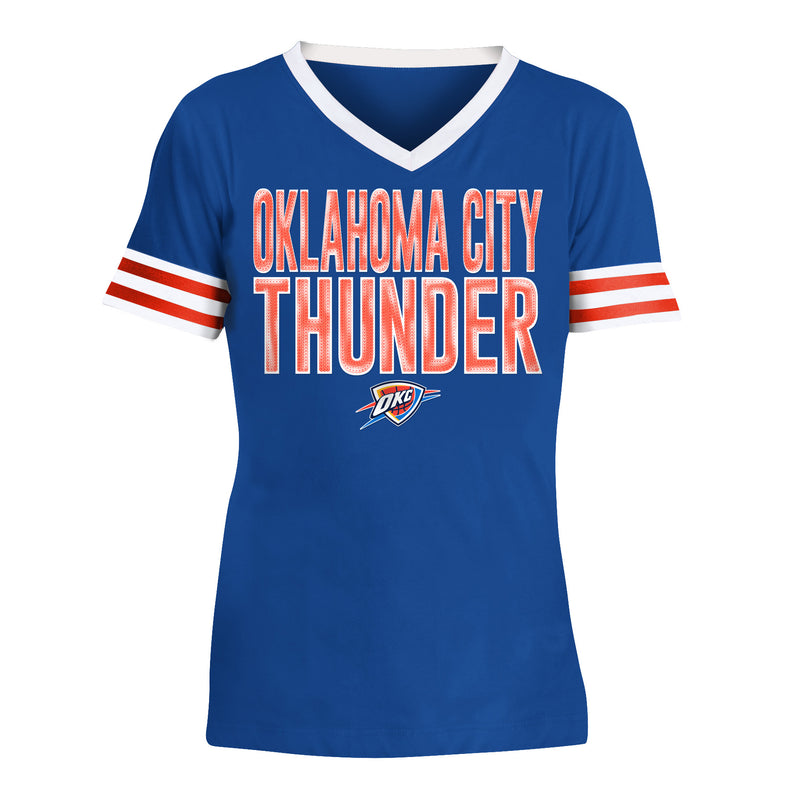 OKLAHOMA CITY THUNDER NEW ERA YOUTH V-NECK SHORT SLEEVE TEE