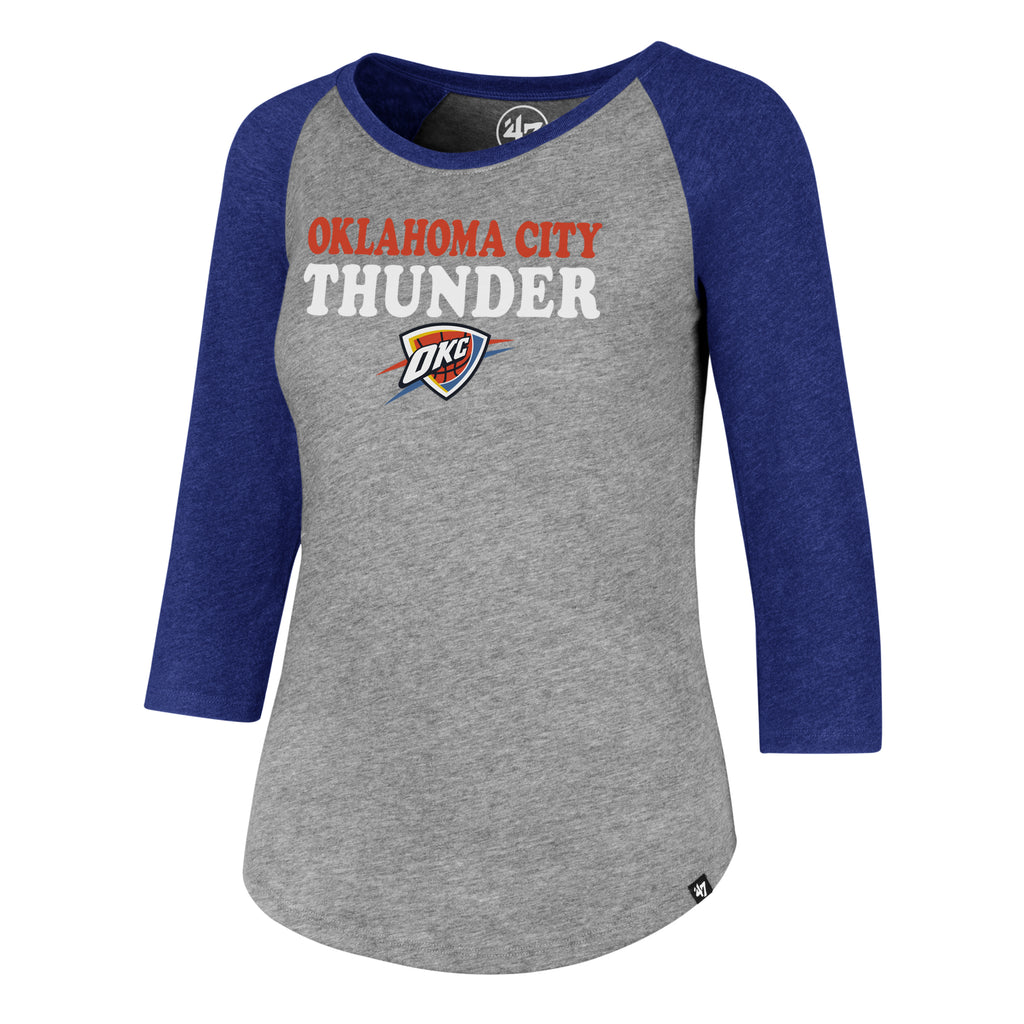 OKLAHOMA CITY THUNDER 47 BRAND WOMENS RAGLAN BLUE SLEEVE TEE