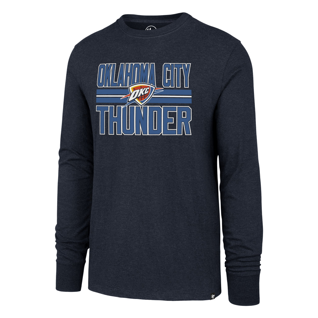 47 BRAND OKLAHOMA CITY THUNDER MENS THUNDER BLOCK STRIP LS TEE