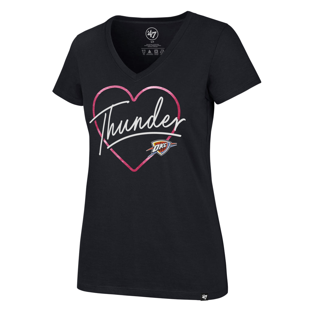 47 BRAND OKLAHOMA CITY THUNDER WOMENS FLUORESCENT HEART AND SOUL ULTRA V-NECK TEE