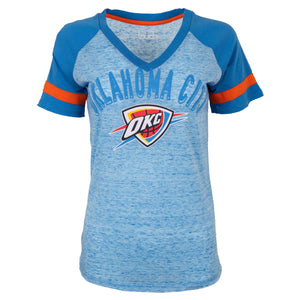 OKLAHOMA CITY THUNDER WOMENS OKC SHIELD V-NECK SHORT SLEEVE TEE