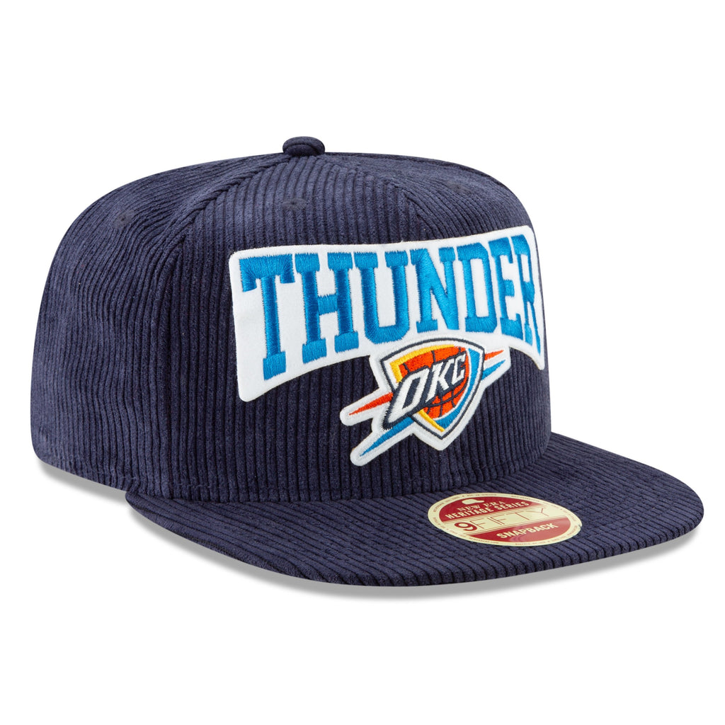 OKLAHOMA CITY THUNDER NEW ERA THROWBACK TEAM CORDUROY SNAPBACK HAT