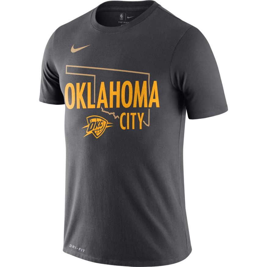 OKLAHOMA CITY THUNDER NIKE CITY EDITION STATE OUTLINE TEE