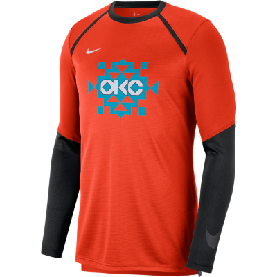 OKC THUNDER NIKE CITY EDITION SHOOTING LONG SLEEVE SHIRT