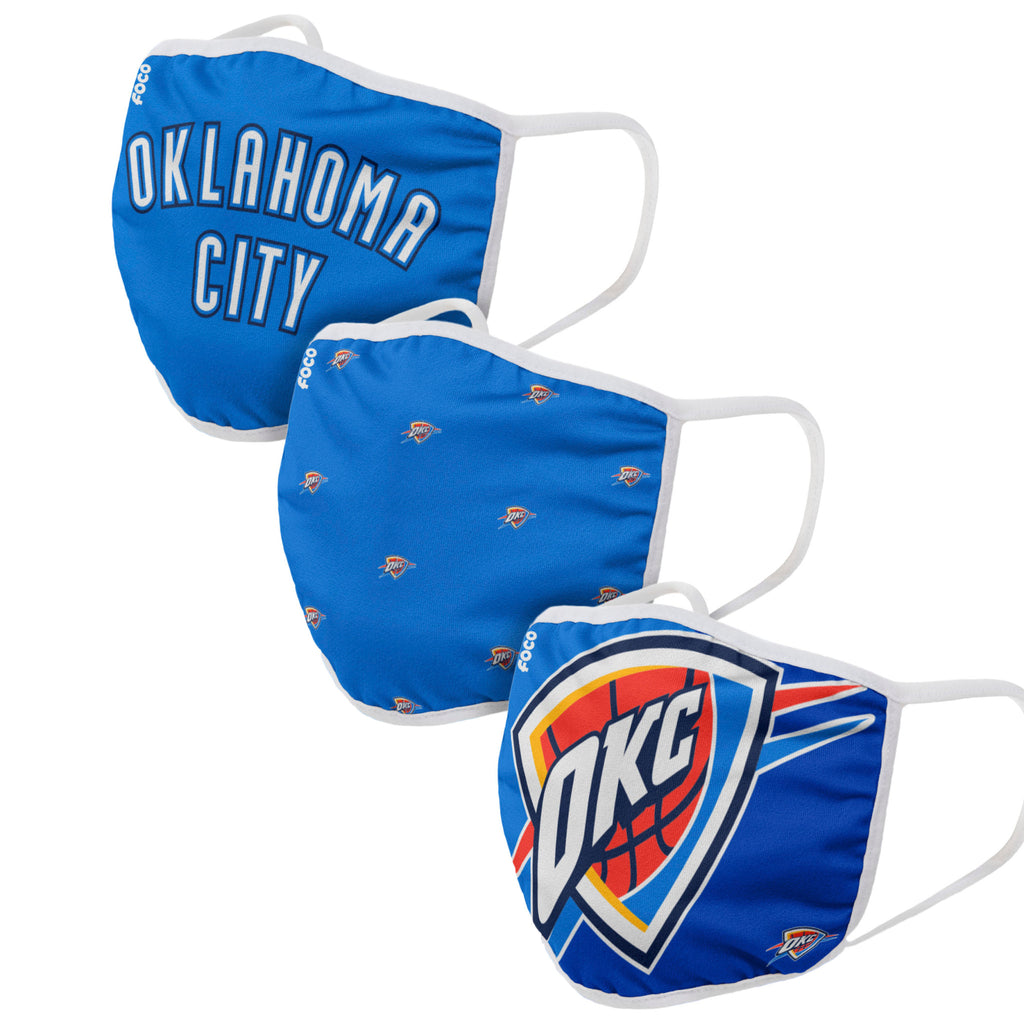 OKLAHOMA CITY THUNDER ADULT CLOTH FACE COVERING 3-PACK
