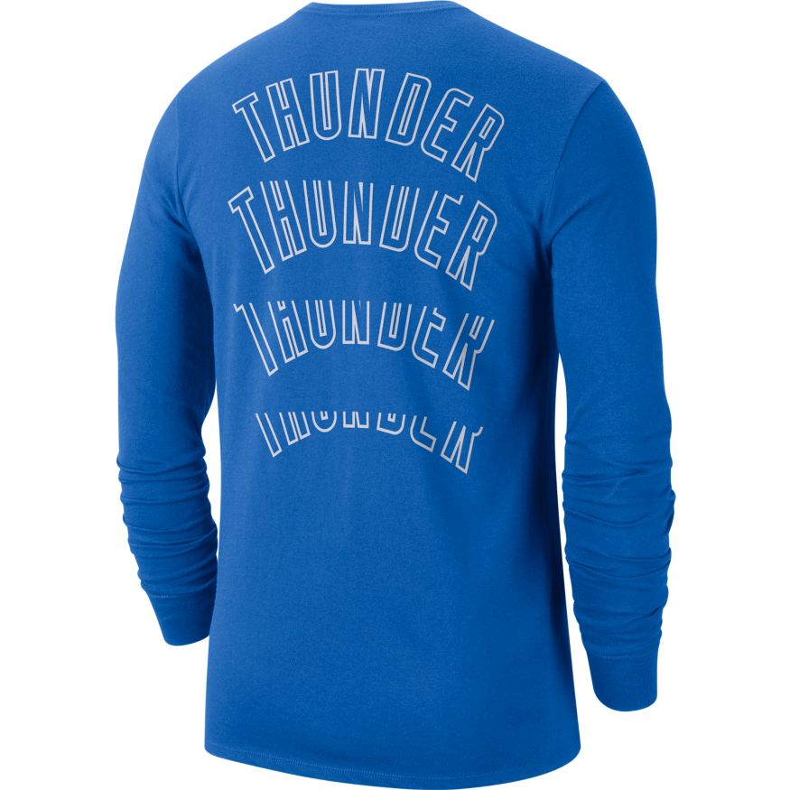 OKC THUNDER NIKE ICON BLUE THUNDER LOGO LONG SLEEVE TSHIRT