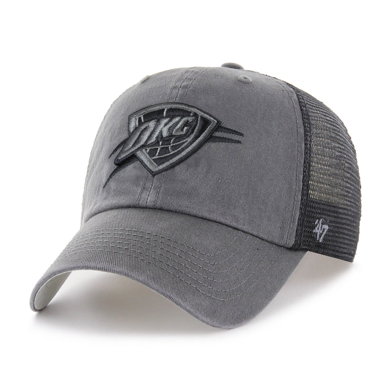 OKLAHOMA CITY THUNDER CHARCOAL BLUE HILL 47 BRAND CLOSER MESH HAT