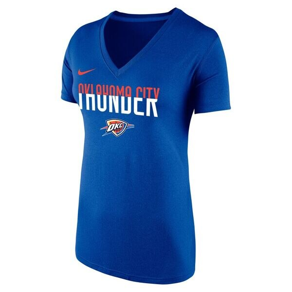OKLAHOMA CITY THUNDER NIKE WOMEN DRI-FIT SPLIT V-NECK TEE
