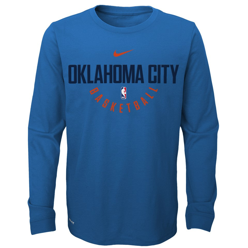 OKLAHOMA CITY THUNDER YOUTH ELITE PRACTICE LONG SLEEVE TSHIRT
