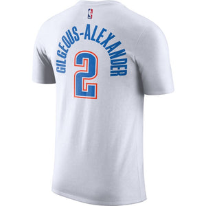 OKLAHOMA CITY THUNDER NIKE ASSOCIATION EDITION SHAI GILGEOUS-ALEXANDER NAME AND NUMBER TEE