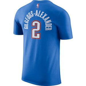 OKLAHOMA CITY THUNDER NIKE ICON EDITION GILGEOUS-ALEXANDER NAME AND NUMBER TEE