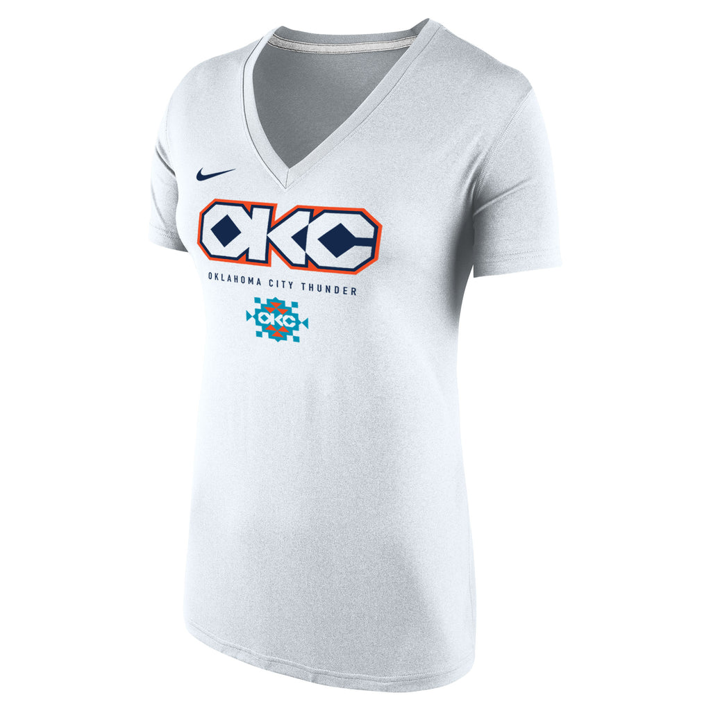OKLAHOMA CITY THUNDER NIKE WOMENS CITY EDITION LEGENDS V-NECK TEE