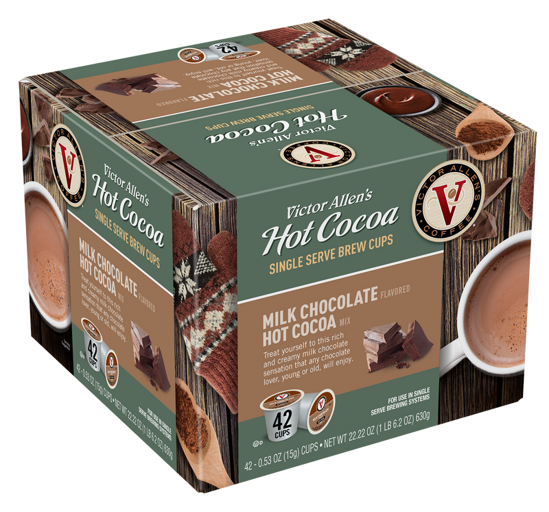 Victor Allen's Coffee Milk Chocolate Hot Cocoa 42 Count Single Serve Cups for Keurig K-Cup Brewers