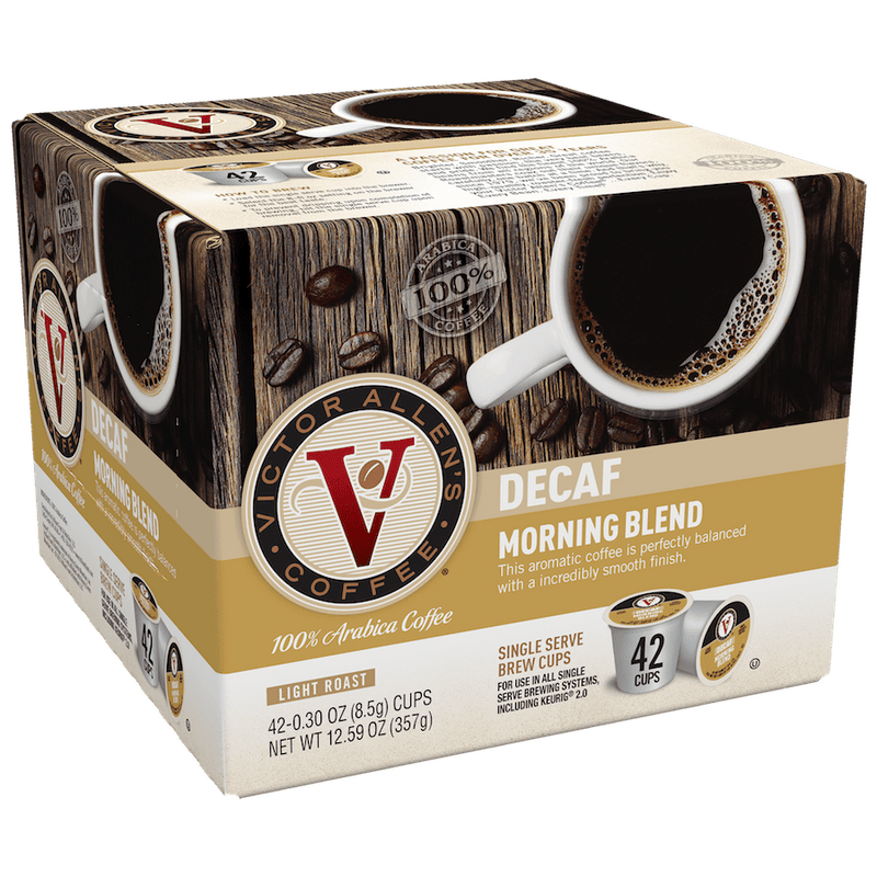 Victor Allen's Coffee Decaf Morning Blend, Light Roast, Single Serve Coffee Pods for Keurig K-Cup Brewersrs