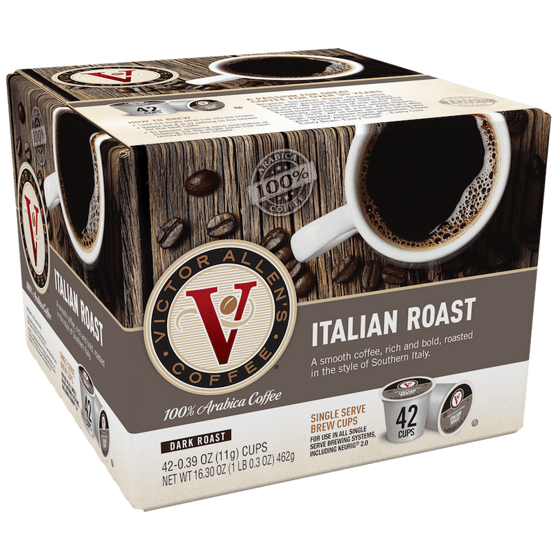 Victor Allen's Coffee Italian Roast, Dark Roast, Single Serve Coffee Pods for Keurig K-Cup Brewers