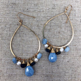 Teardrop Earring with Clustered Gemstones & African Blue Opal Teardrop