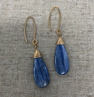 Hand-forged Arch Earrings with Kyanite Pendant Teardrops