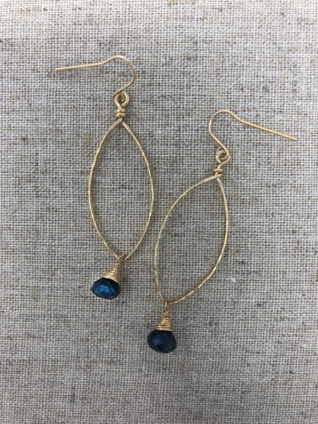 Hand-Forged 14K GF Teardrop Earring with Blue Labradorite
