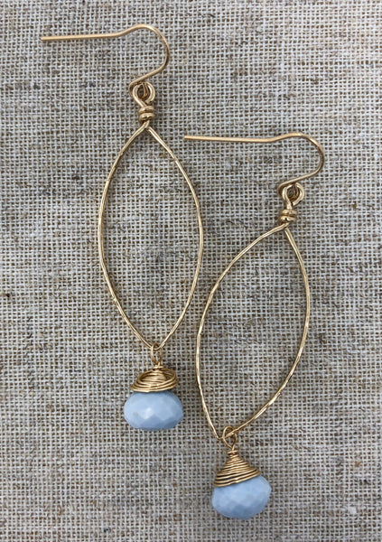 Hand-Forged 14K GF Teardrop Earring with African Blue Opal