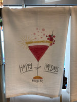 Happy Holidays Raleigh NC Flour Sack Tea Towel