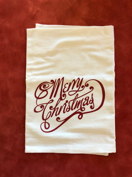 Merry Christmas Flour Sack Tea Towel - Red