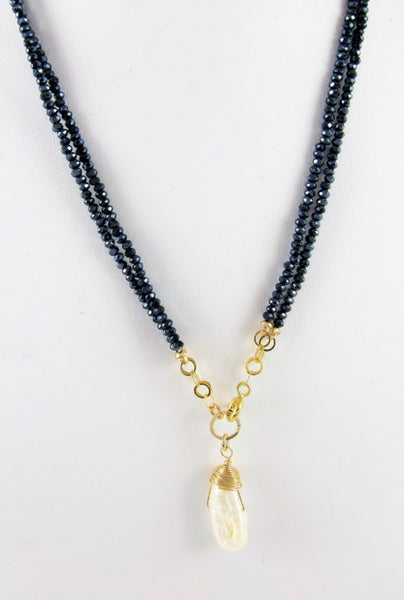 Navy Crystal Necklace with Biwa Pearl Drop