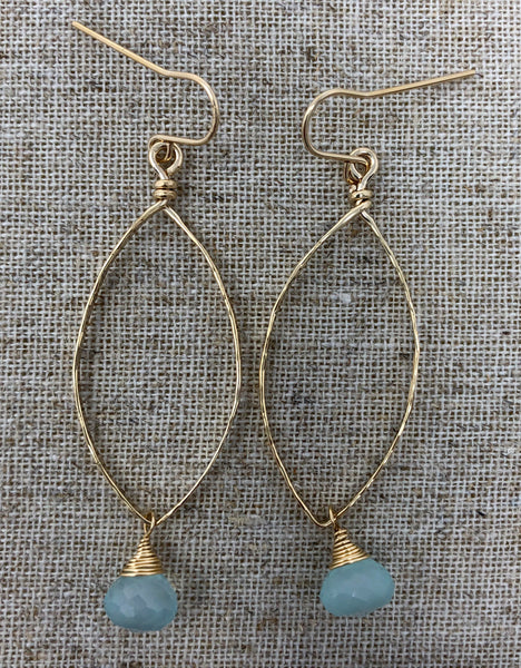 Hand-Forged 14K GF Teardrop Earring with Peruvian Chalcedony