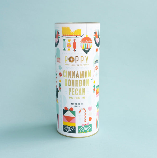 Poppy Hand-Crafted Popcorn Cinnamon Bourbon Pecan Holiday Cylinder