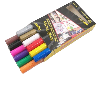 Acrylic Paint Flysea Pens -12 Colours use on rocks, paper, fabric, glass, ceramic, wood, metal etc.