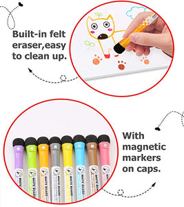Whiteboard Magnetic Markers -Dry Erase 8 Colors Fine Point Writing for Home, School or  Office Home