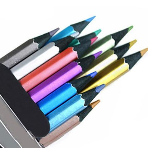 Metallic Coloured Drawing Pencils - 12 Colours