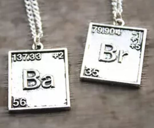 Chemical Symbol Br & Ba Necklaces, set of two.